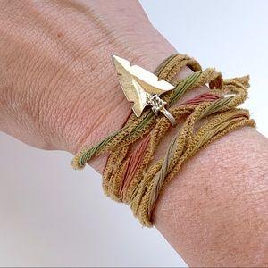 Silk Over Dyed w/ Arrowhead Wrap Bracelet